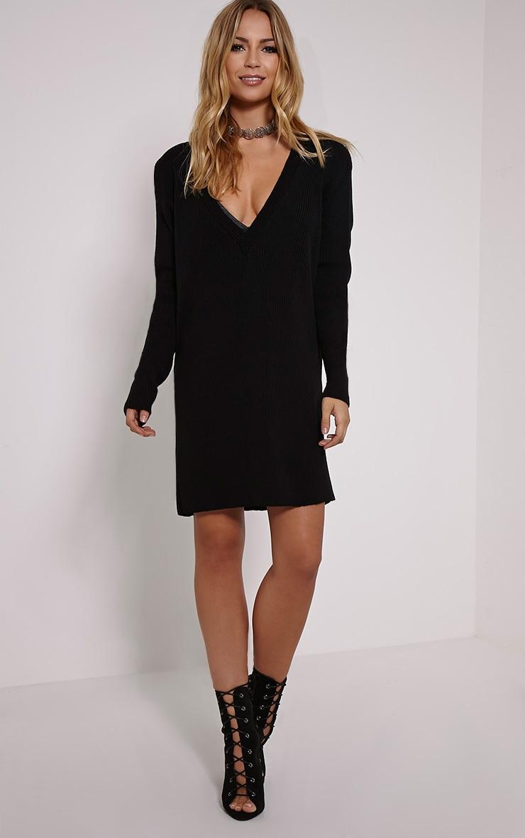 Nashton Black V Neck Ribbed Jumper Dress 3