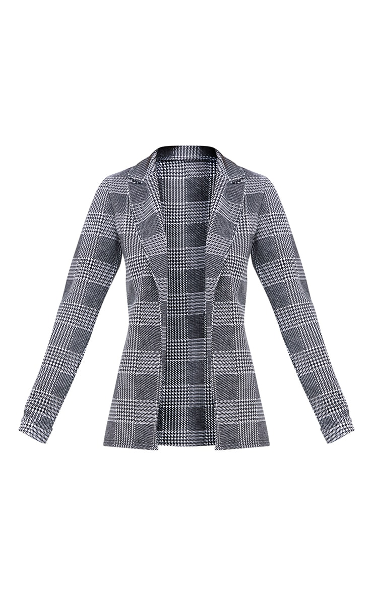 Black Check Long line Blazer 3