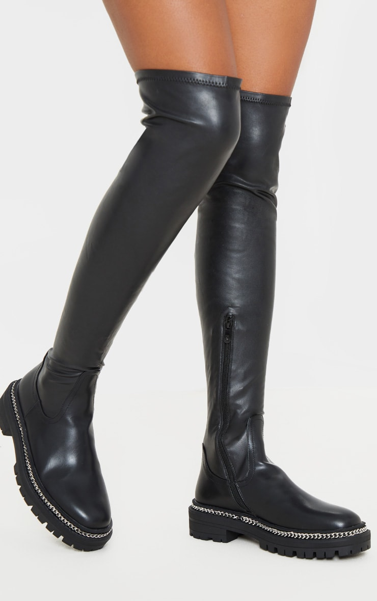 Black Faux Leather Chain Sole Cleated Thigh High 1