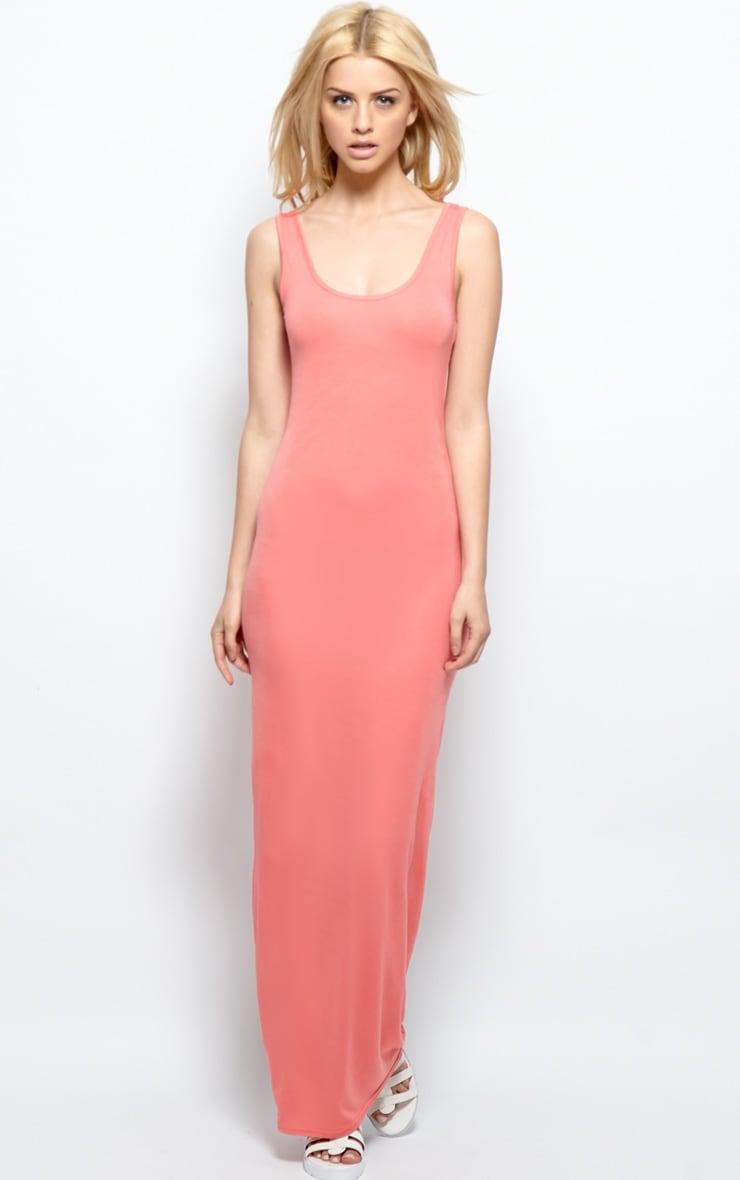 Zoe Coral Jersey Maxi Dress 1