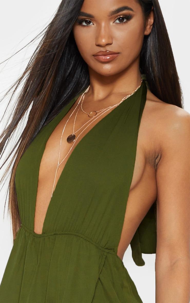 Alina Khaki Plunge Maxi Dress 5