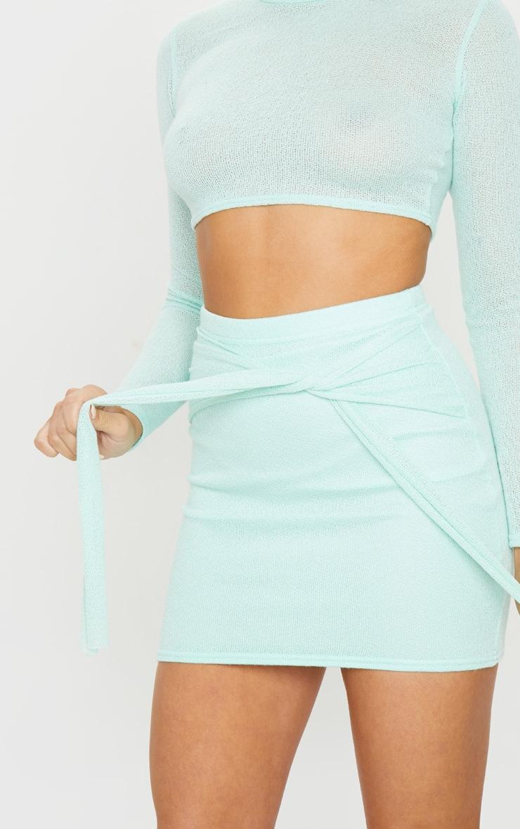 Mint Lightweight Knit Tie Front Mini Skirt 5