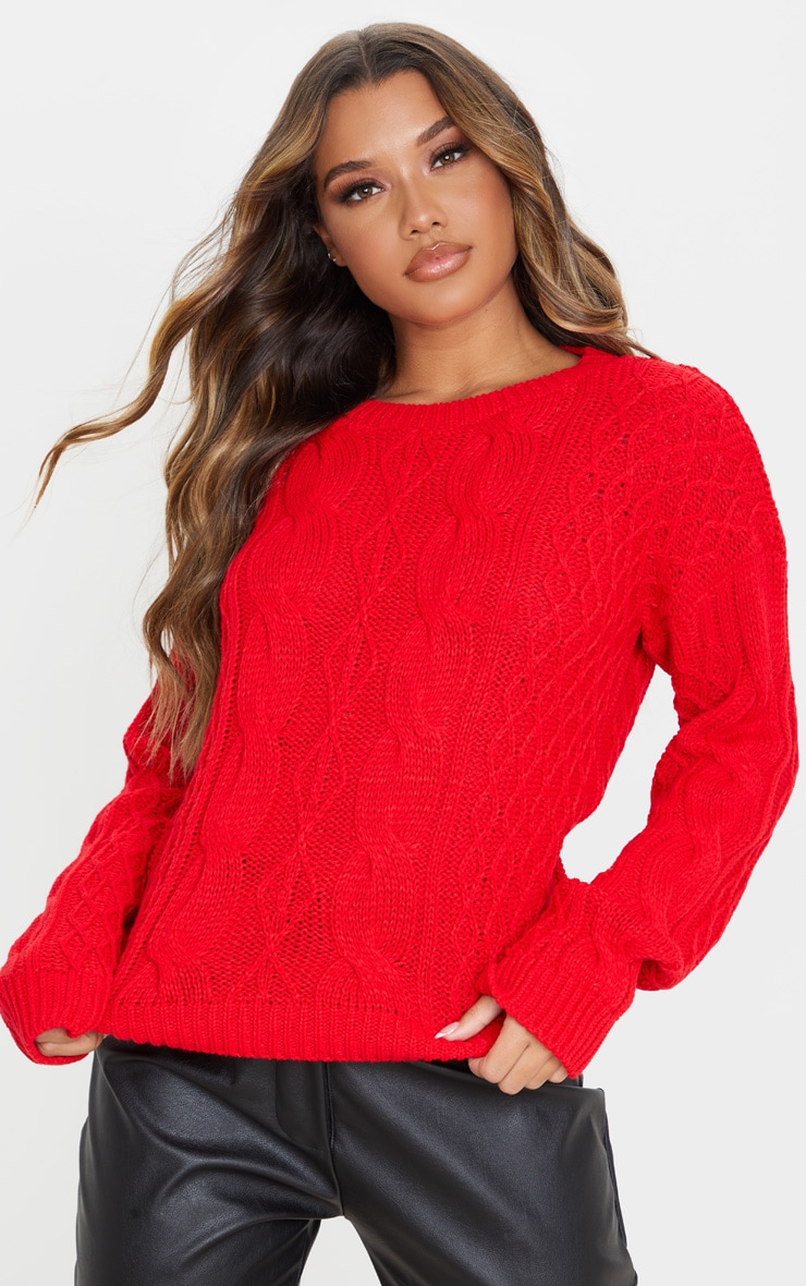 Red Slouchy Cable Knit Sweater 1