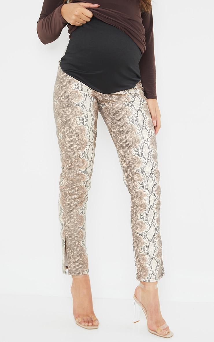 Maternity Stone Split Hem Snake Print Flared Trousers 2