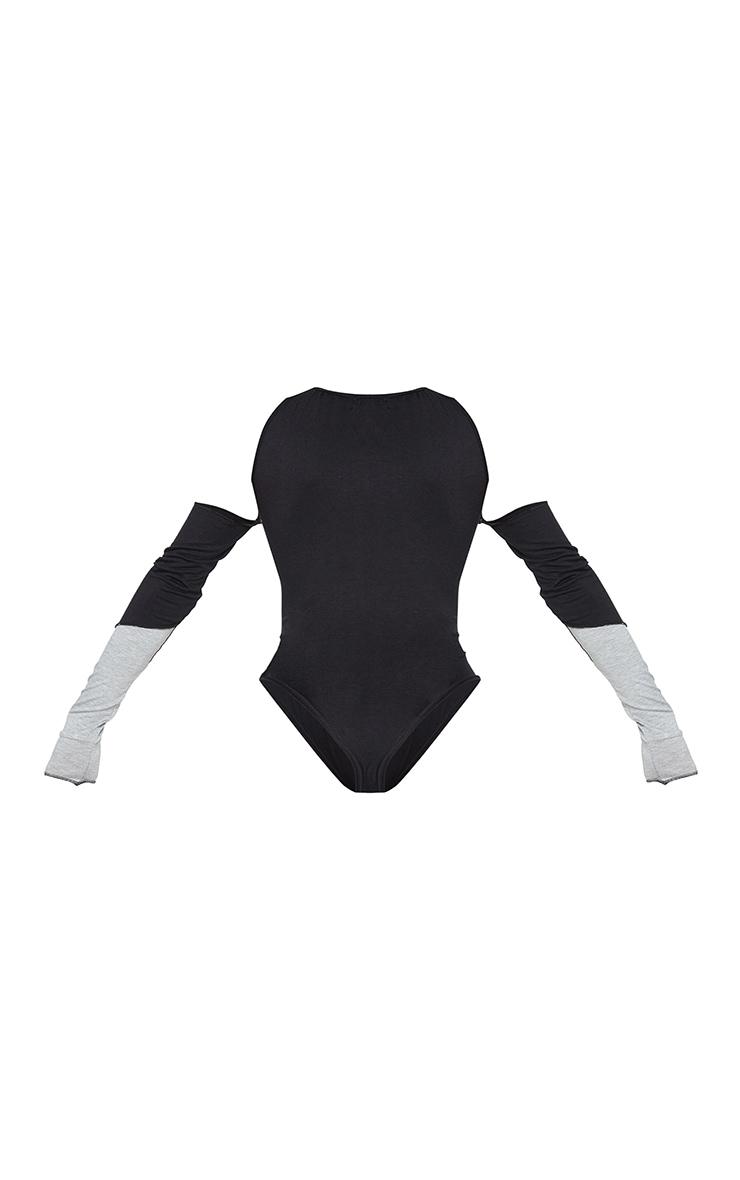 Shape Black Panel Cut Out Overlock Seam Detail Bodysuit 6