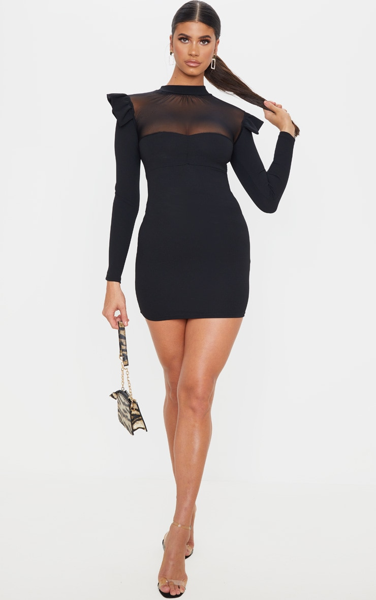 Black Frill Shoulder Mesh Insert Long Sleeve Bodycon Dress 4