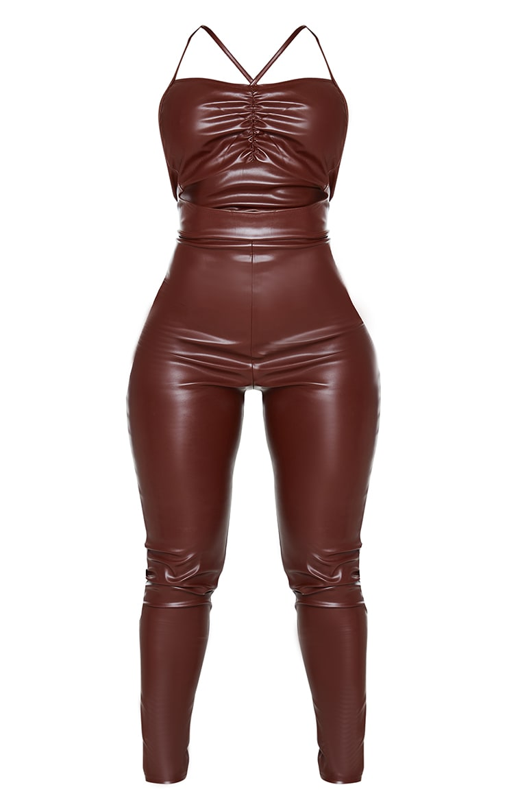Shape Chocolate Brown PU Ruched Cut Out Jumpsuit 5