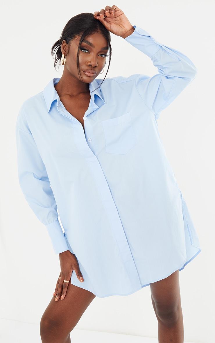 Tall Blue Poplin Split Side Detail Shirt Dress 1
