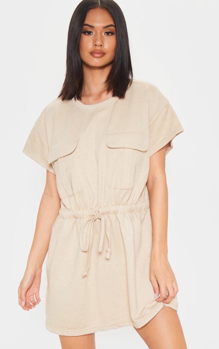 Sand Pocket Front Tie Waist Sweater Dress 4