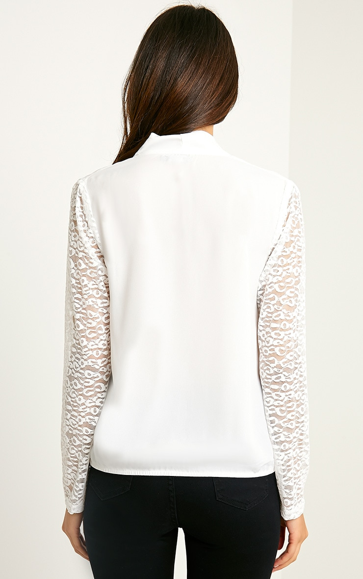Carlene White Lace Sleeve Wrap Top 2