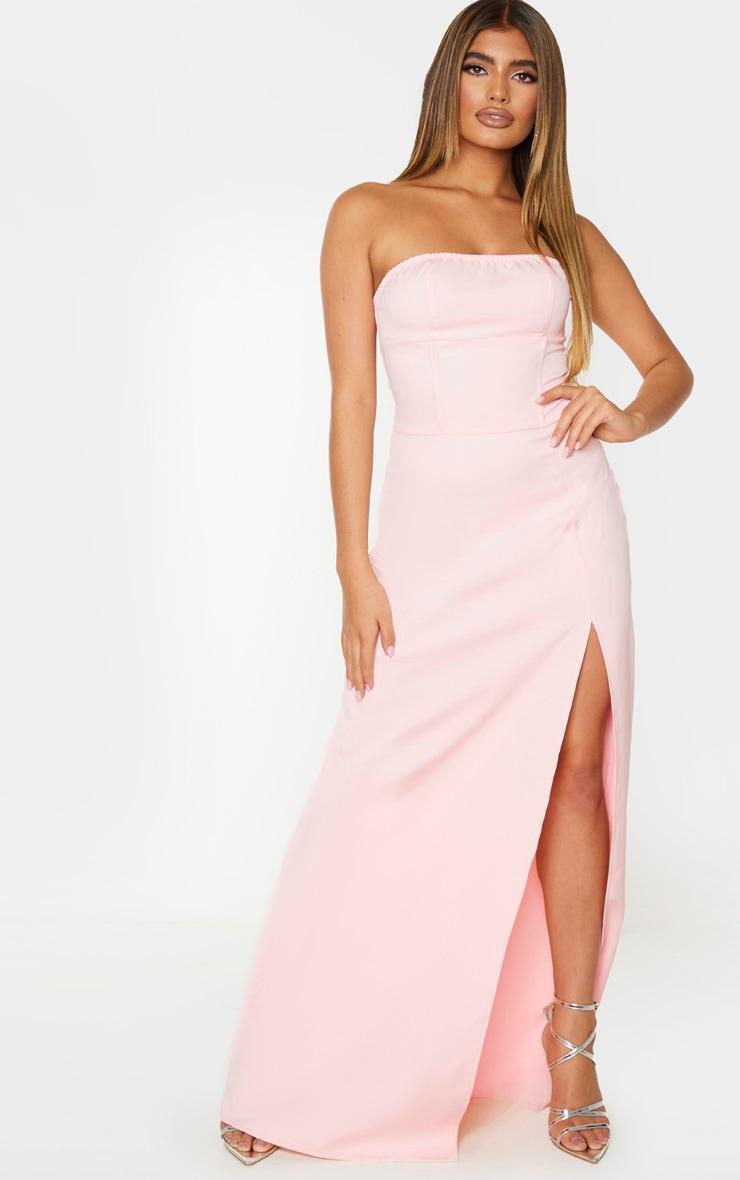 Pale Pink Corset Detail Bandeau Maxi Dress 1