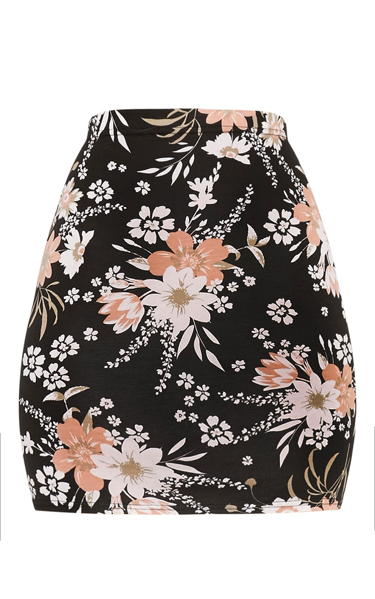 Donya Black Floral Print Mini Skirt 3
