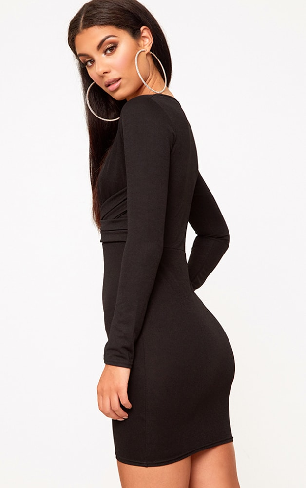 Black Plunge Strappy Front Bodycon Dress 2