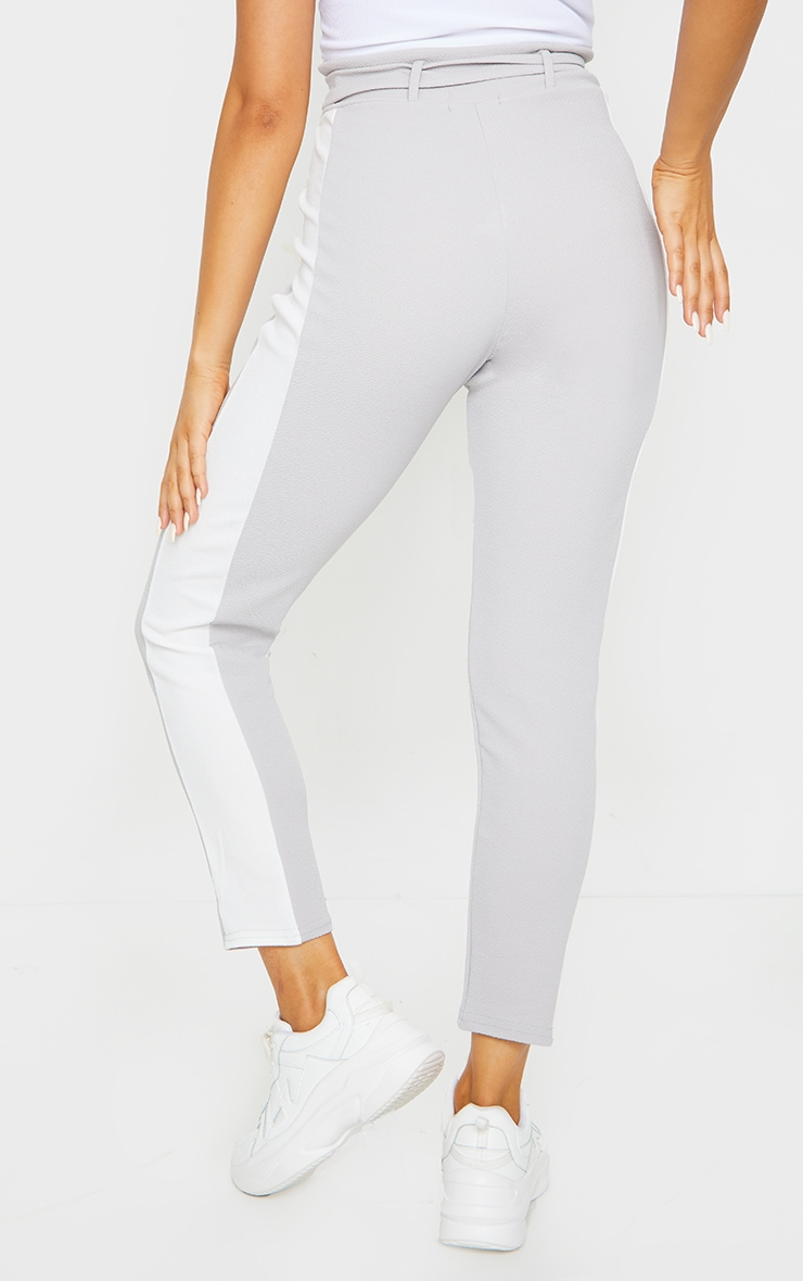 Grey D Ring Contrast Panel Skinny Trousers 3