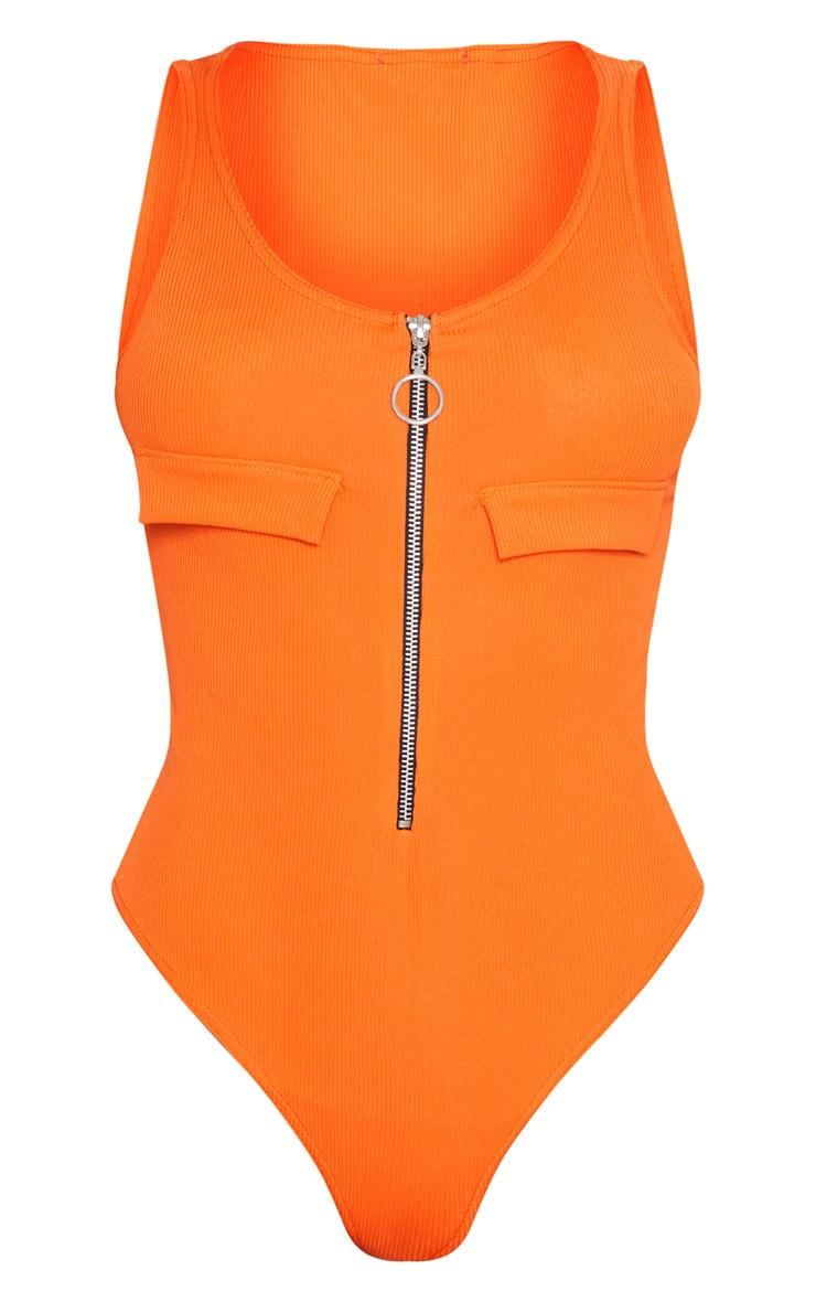 Tangerine Rib Pocket Zip Front Thong Bodysuit 3