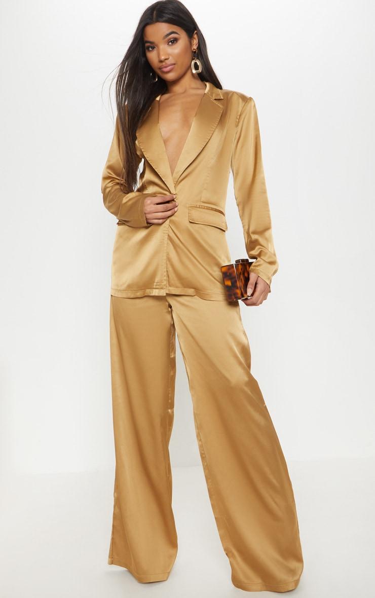 Gold Satin Wide Leg Trouser  1