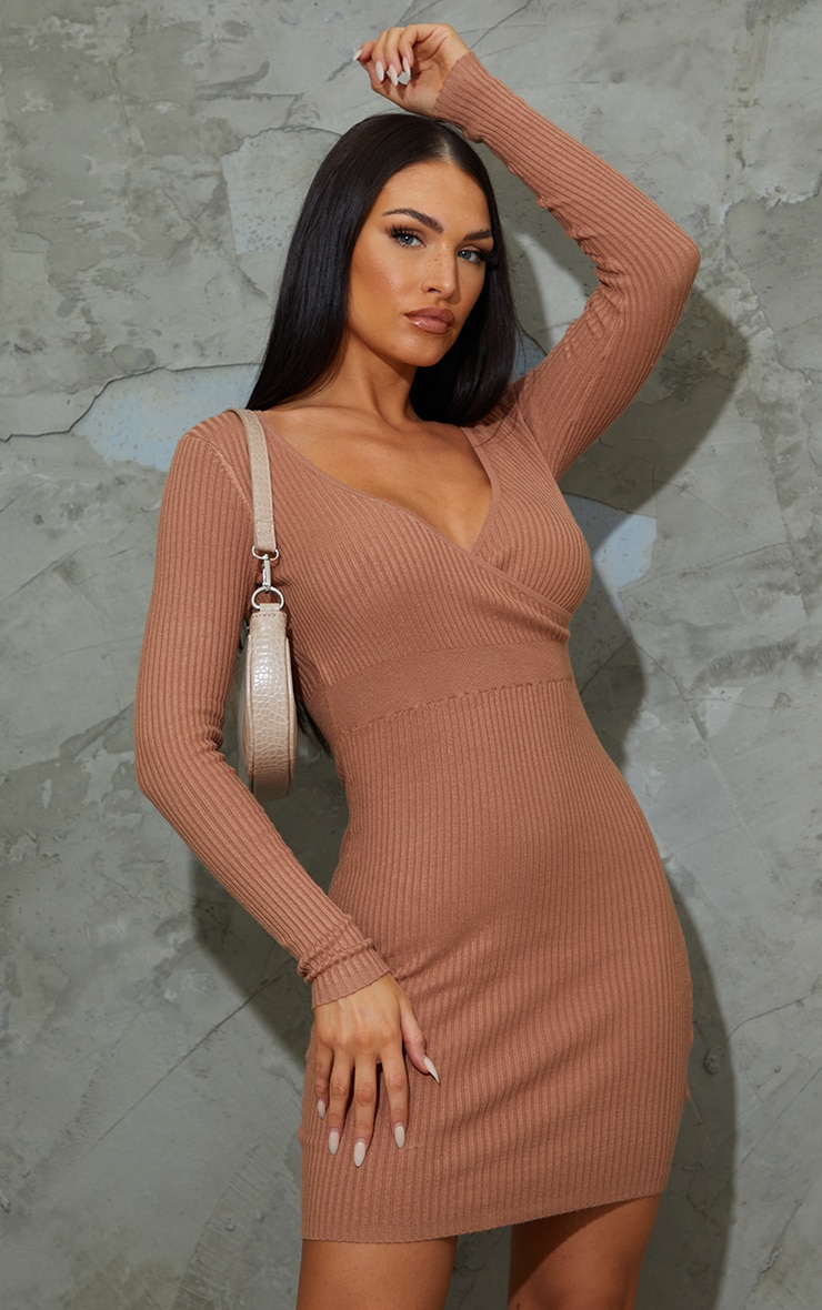 Camel Skinny Ribbed Knitted Wrap Front Bodycon Dress 1
