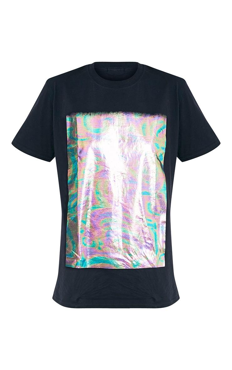 Maralee t-shirt noir surdimensionné à imprimé holographique 3