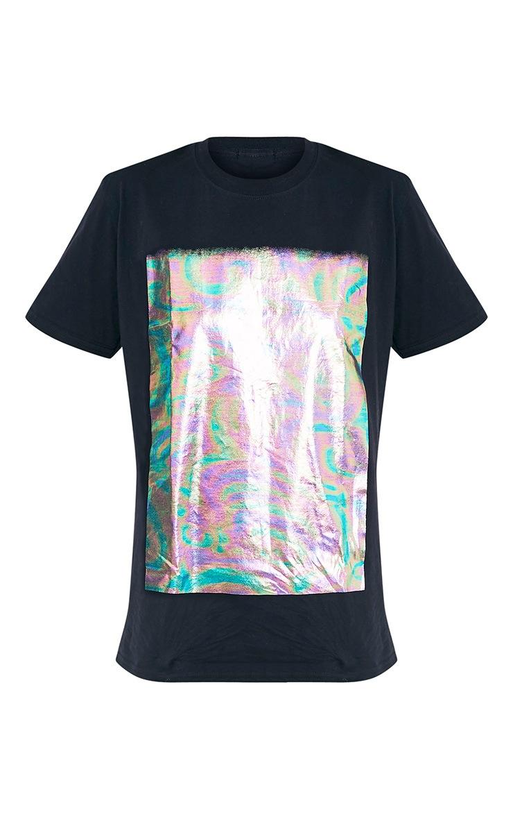 Maralee Black Oversized Holographic Foil Print T Shirt 3