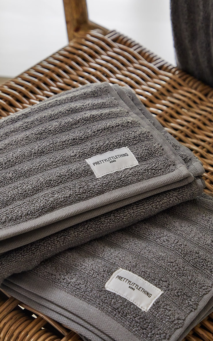 Charcoal Textured Ribbed 2 Pack Cotton Hand Towel 1