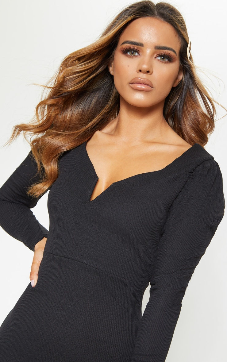 Petite Black Ribbed Long Sleeve Bodycon Dress 5