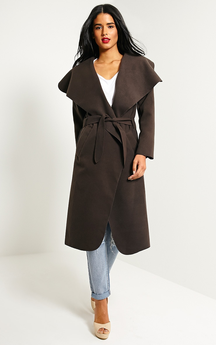 Veronica Chocolate Oversized Waterfall Belt Coat 4