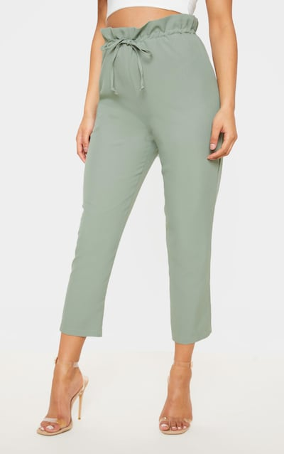 Sage Green Woven Paperbag Slim Leg Trouser