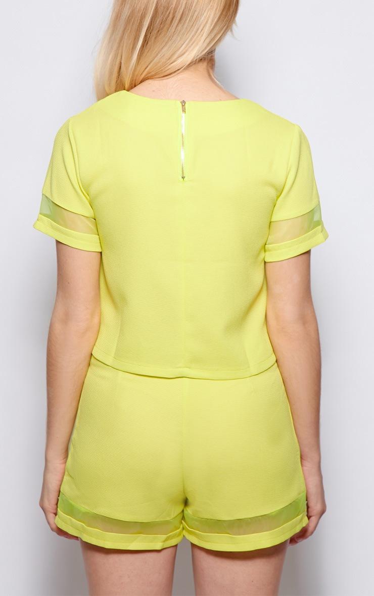 Alyssa Lime Mesh Insert Crop Top 2