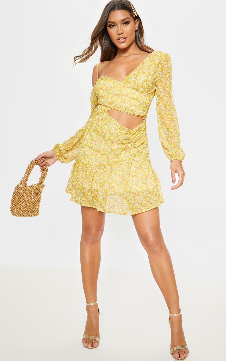 Lemon Floral Print Chiffon Cut Out Skater Dress 4