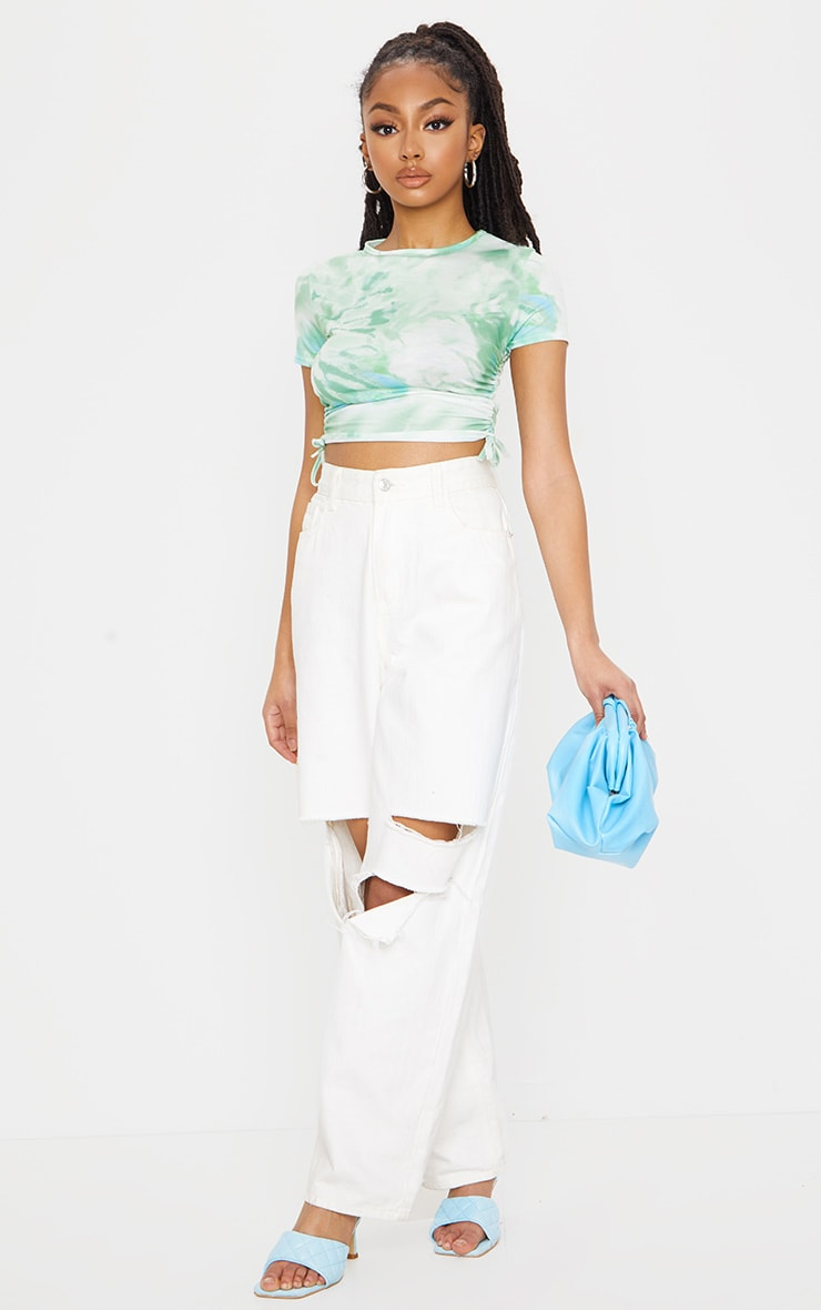Green Printed Tie Dye Ruched Sleeve Crop Top 3