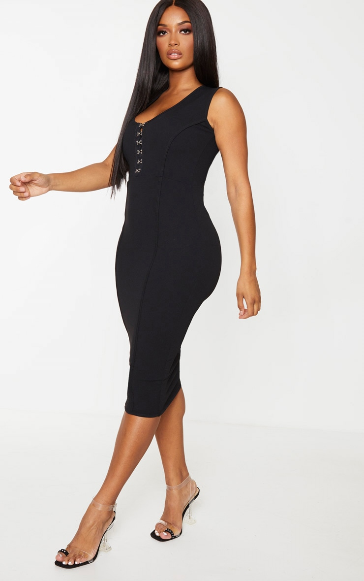 Shape Black Crepe Eyelet Detail Midi Dress 3