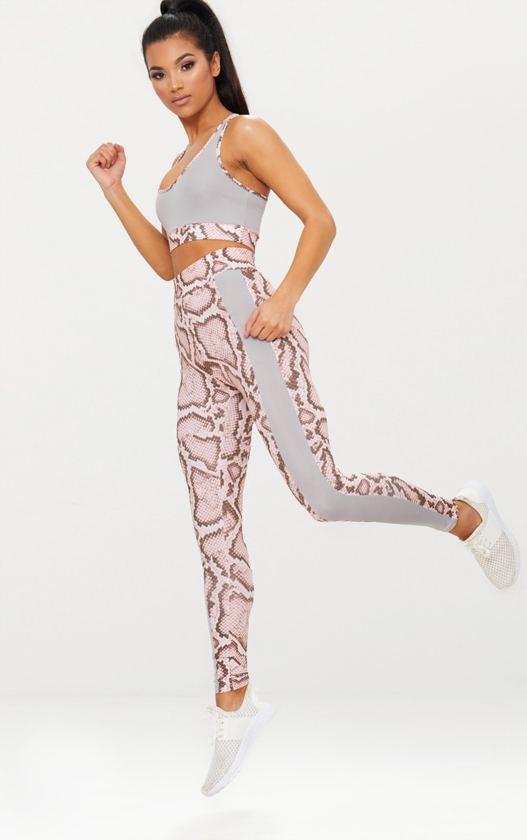 Pink Snake Contrast Gym Leggings 5