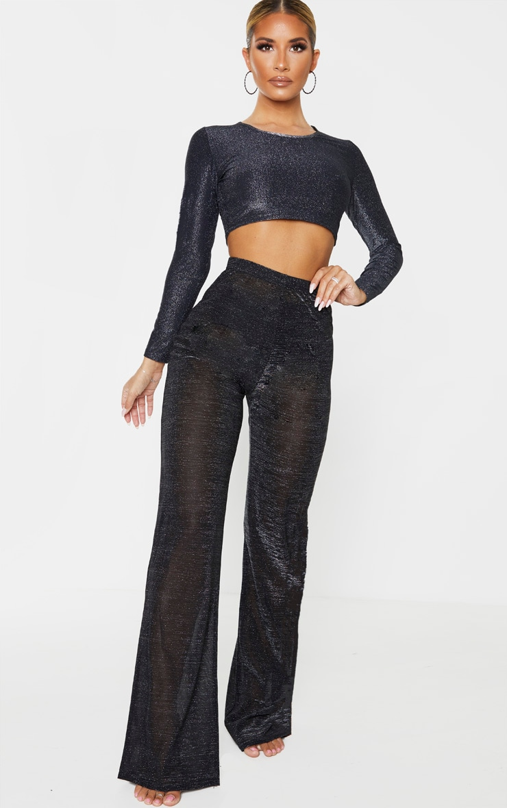 Black Glitter High Waist Wide Leg Beach Trouser 1
