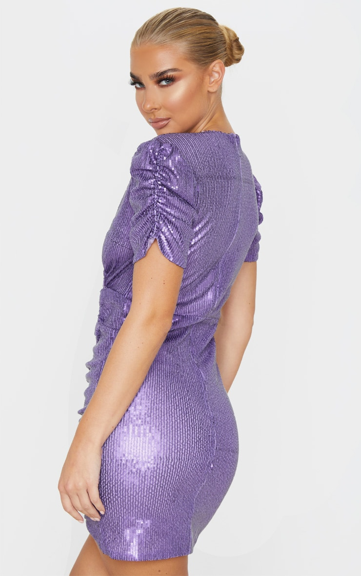 Purple Sequin Ruched Wrap Detail Short Sleeve Bodycon Dress 2
