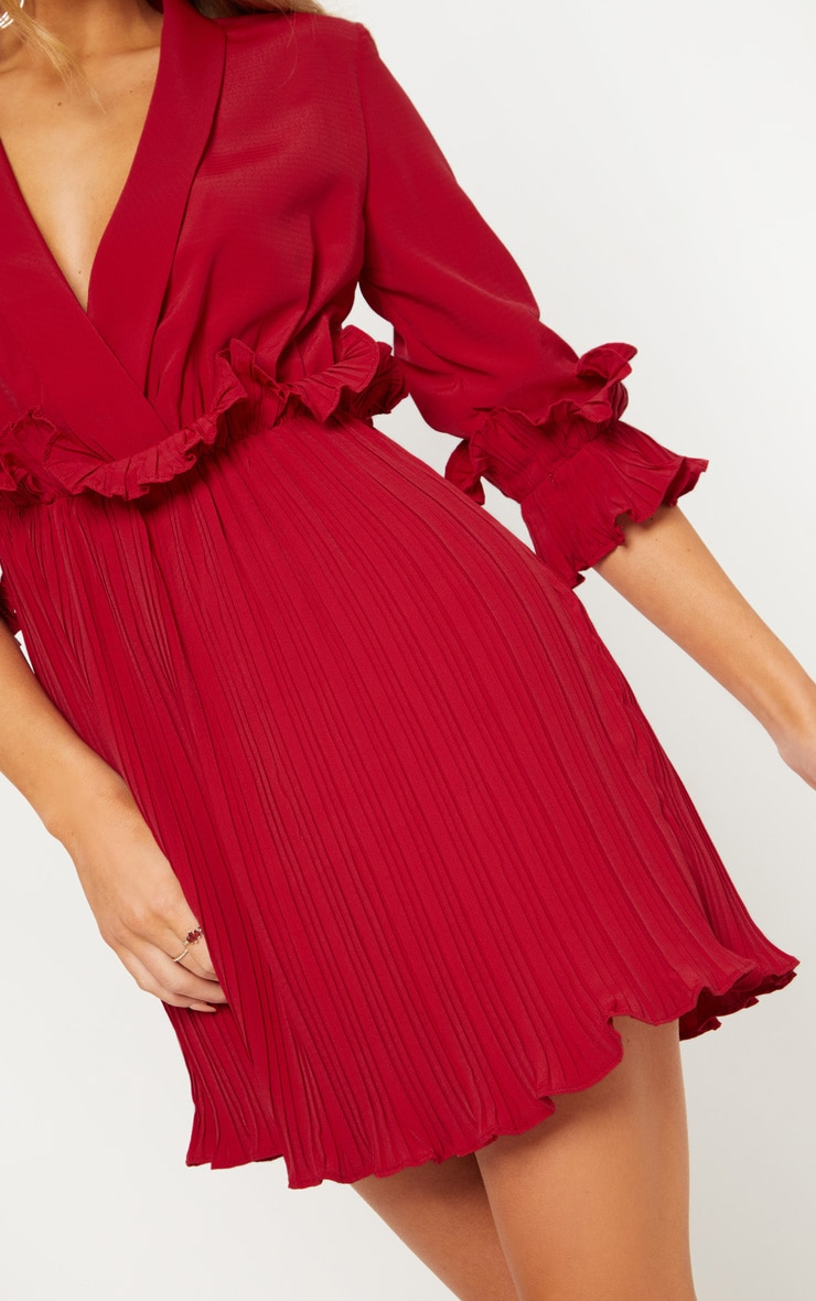 Burgundy Frill Detail Pleated Skater Dress 4