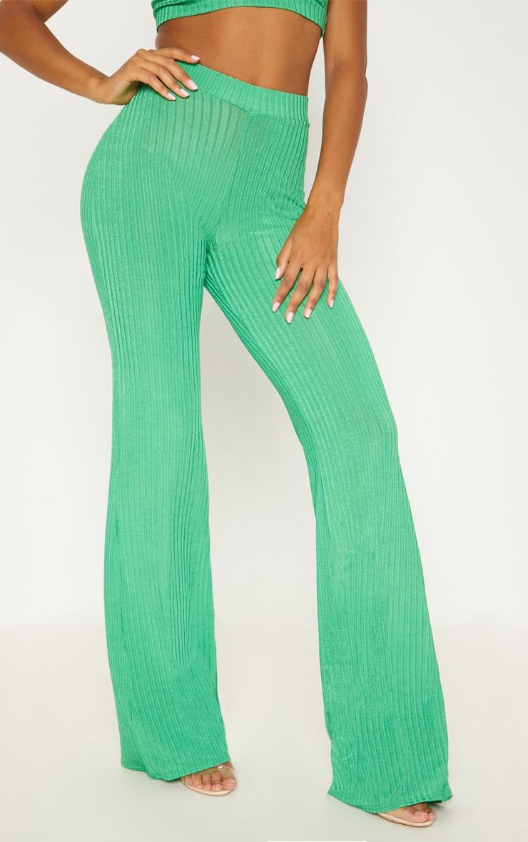 Green Rib Wide Leg Trousers 2