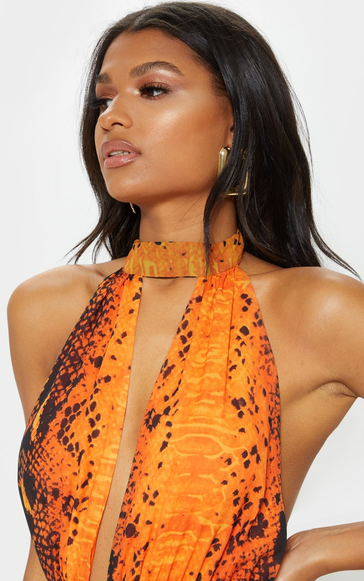 Leala Orange Snake Print Maxi Dress 5