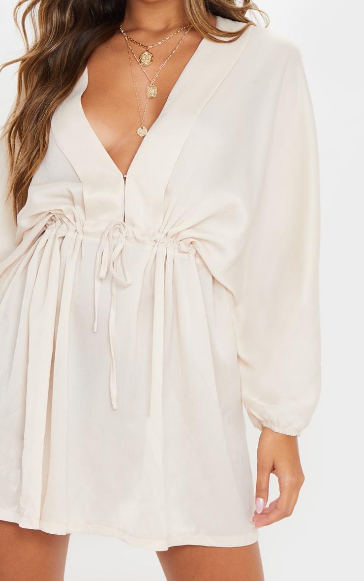 Cream Textured Woven Plunge Tie Waist Skater Dress 5