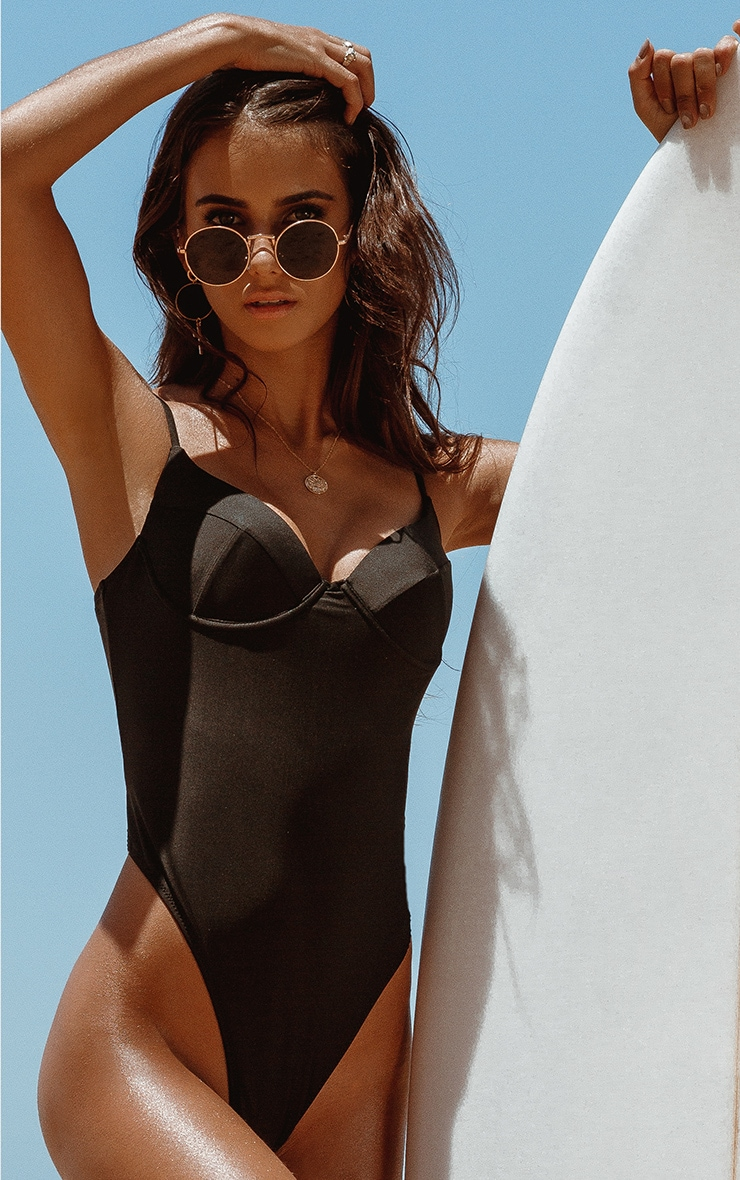 Black Basic Cupped Swimsuit 1