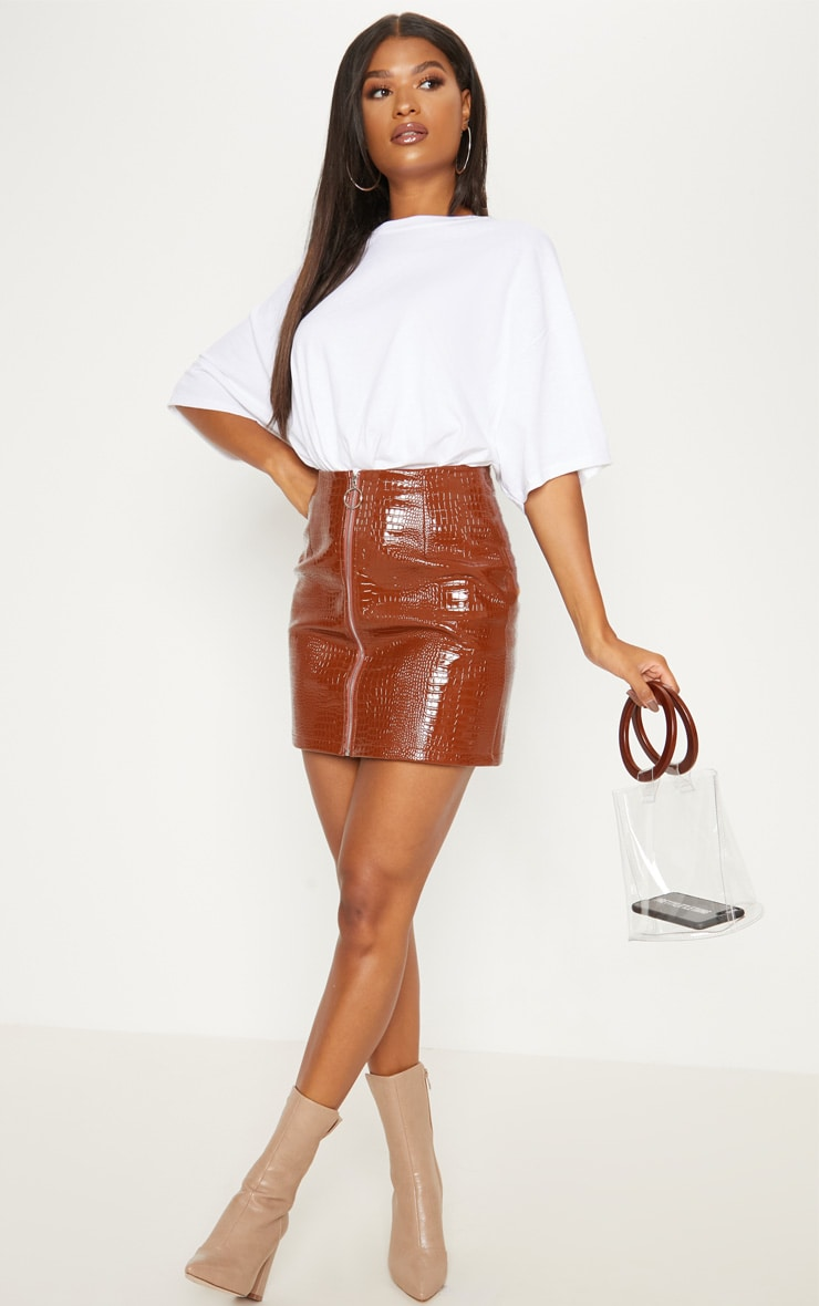 Brown Croc Effect Mini Skirt 5