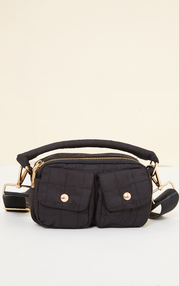 Black Pocket Quilted Cross Body Bag 4