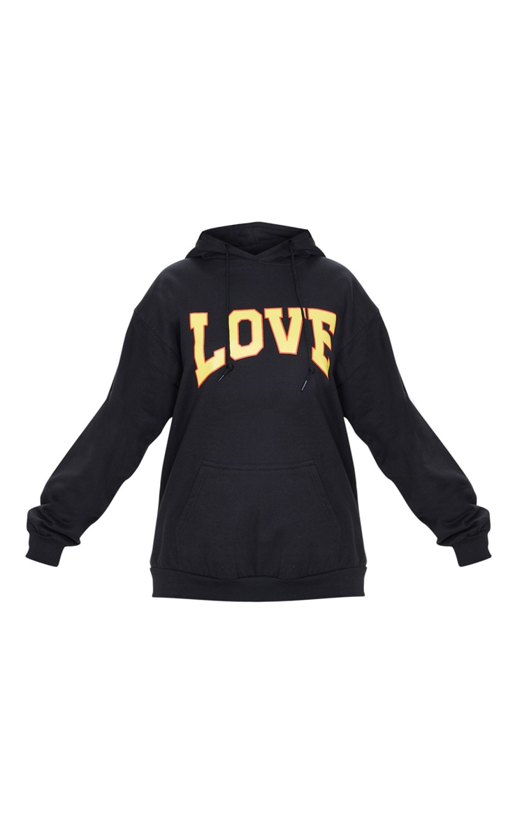 Black Love Hate Slogan Oversized Hoodie 3