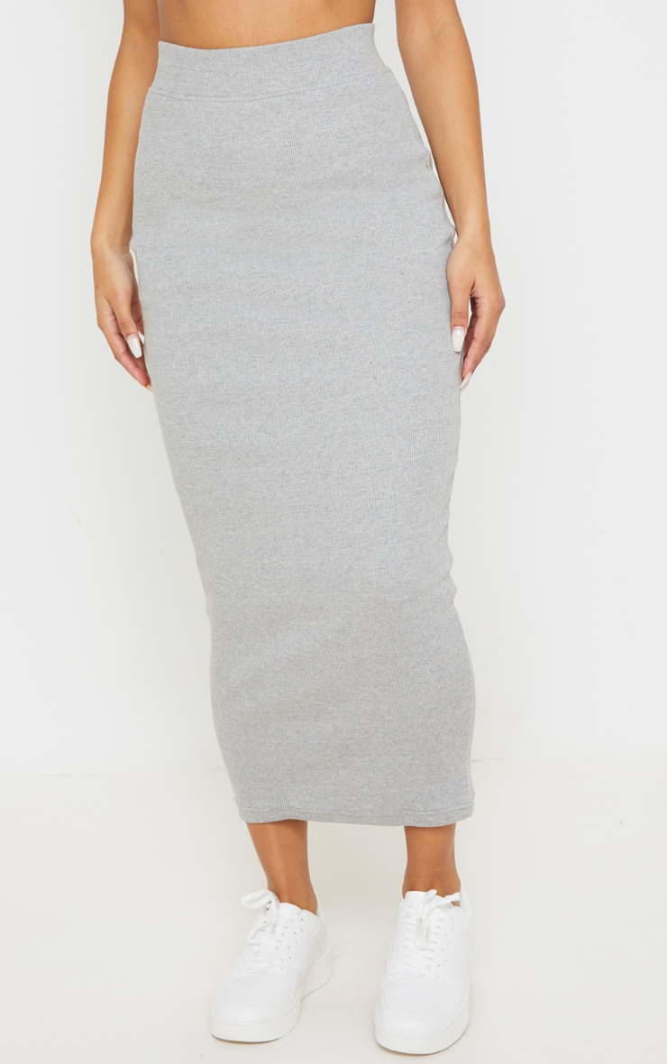 Grey Heavy Rib Bodycon Maxi Skirt 2