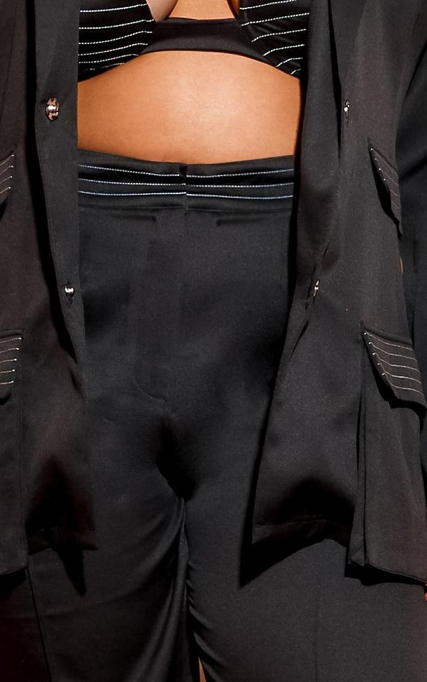 Plus Black Seam Detail Wide Leg Pants 5