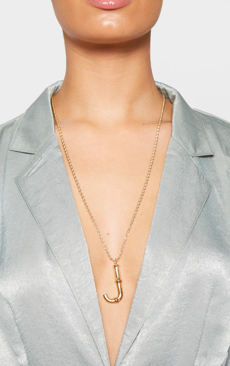 Gold J Bamboo Letter Necklace 2