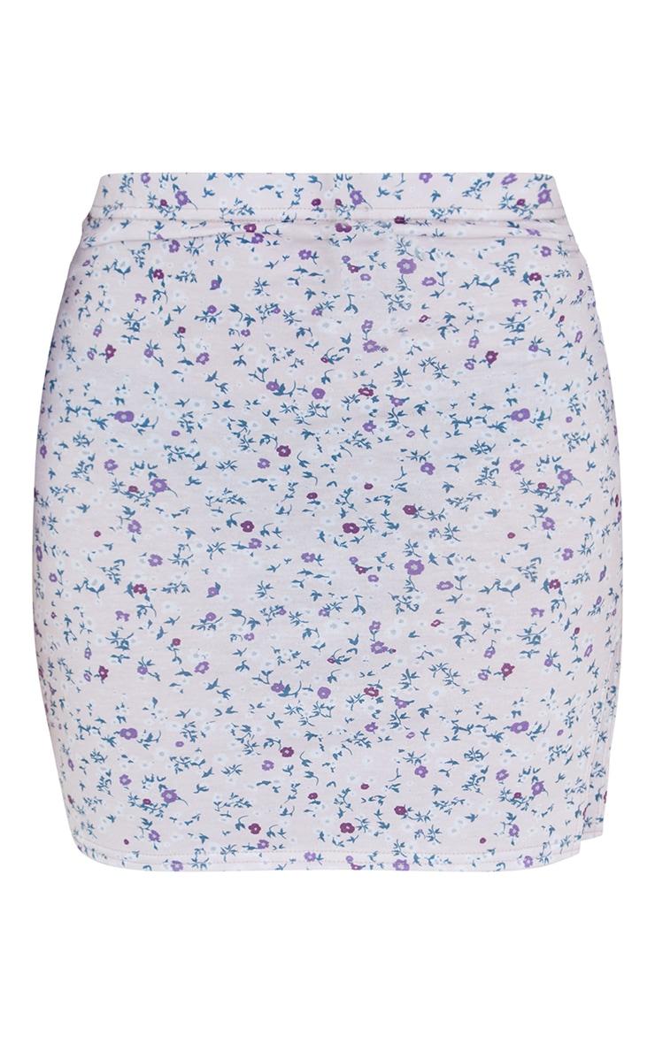 White Ditsy Floral Split Hem Mini Skirt 6
