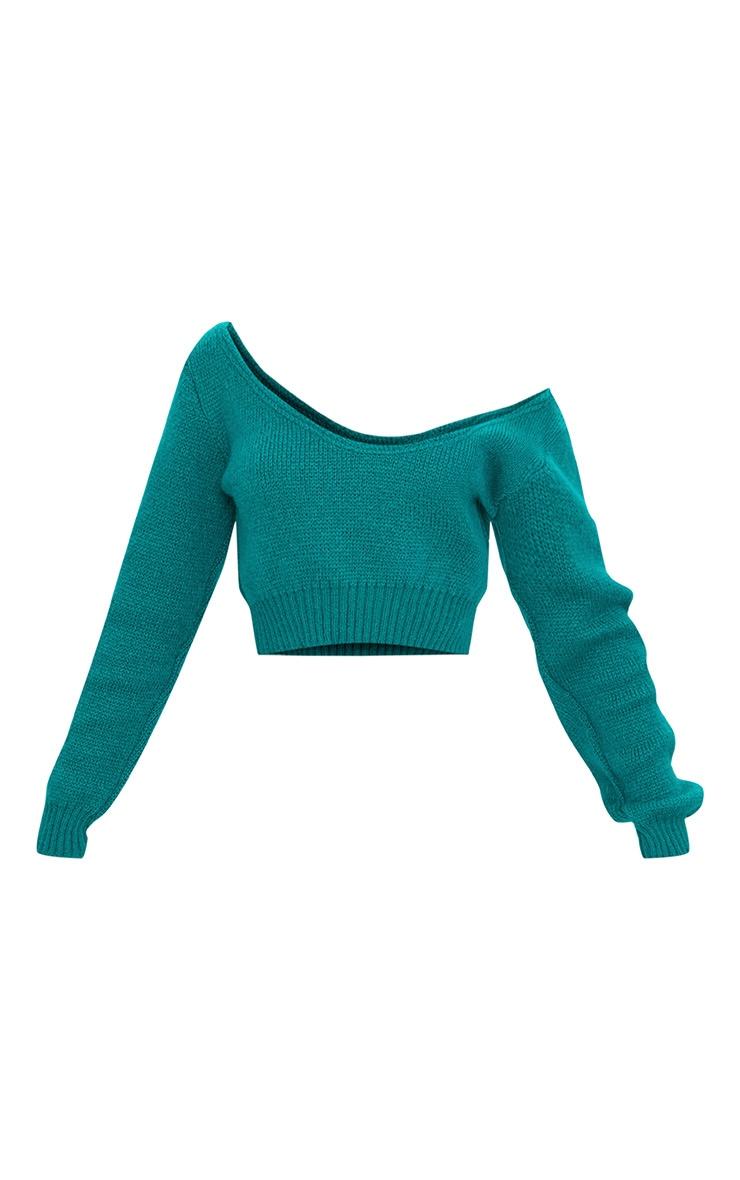Emerald Green V Neck Off Shoulder Knitted Cropped Jumper 3