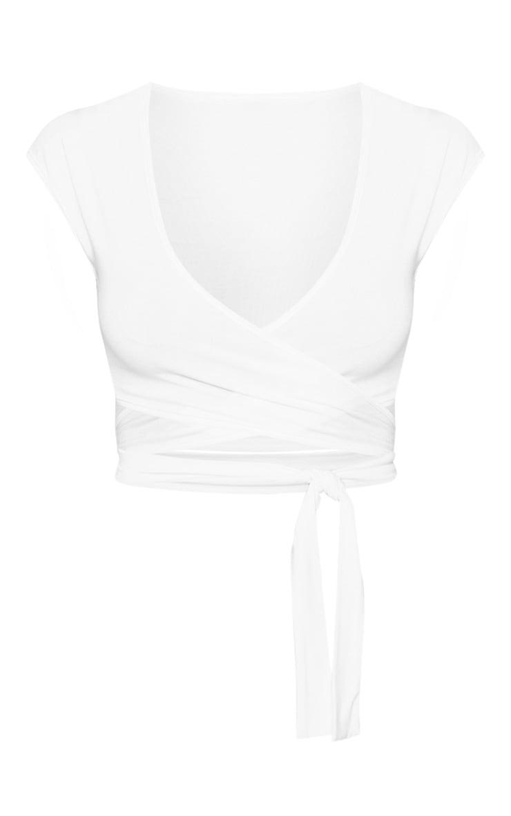 White Jersey Plunge Tie Detail Sleeveless Crop Top 3