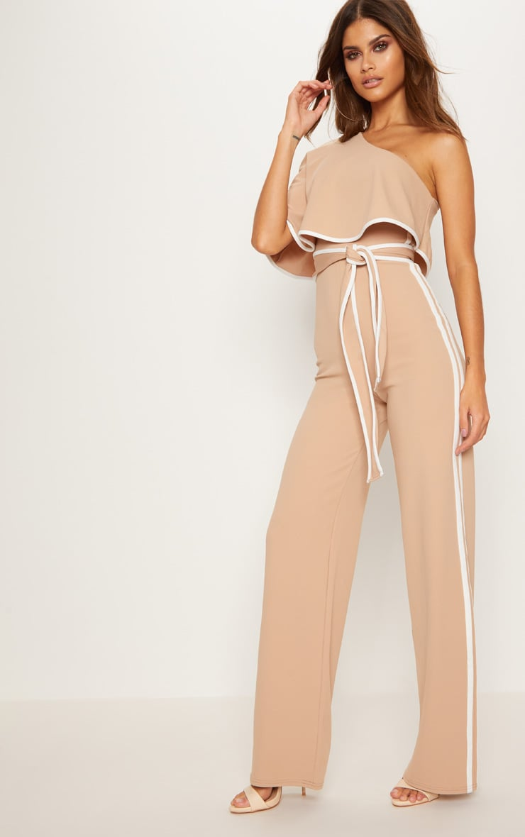 Stone One Shoulder Contrast Binding Jumpsuit 4