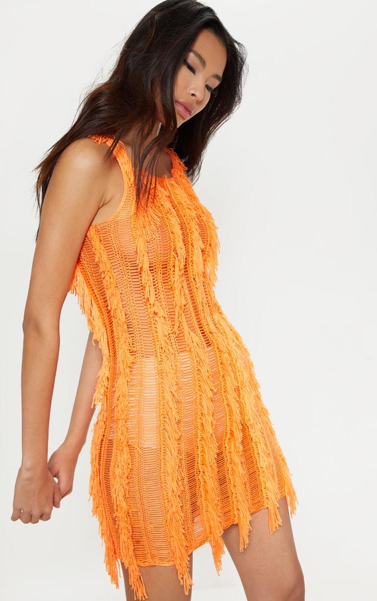 Orange Fringe Detail Knitted Dress  1